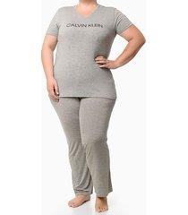 pijama mc e calça viscolight plus size - cinza mescla - 1xl