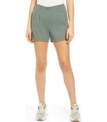 women's vero moda high waist linen blend shorts, size x-large - green