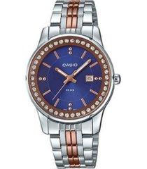 reloj casio analogico broche prueba de agua acero dama ltp-1358rg-2a