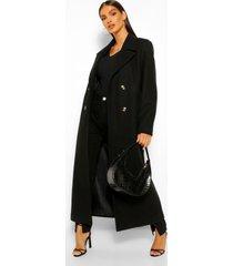 geborstelde nepwollen jas met dubbele knopen, black