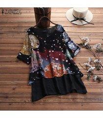 zanzea más mujeres del tamaño de la impresión floral de cuello redondo de tapas de la camisa de gran tamaño de la blusa del puente tee -negro