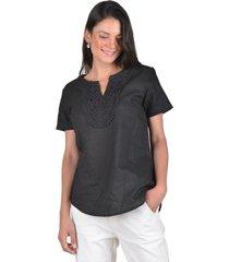 blusa lino negro alexandra cid