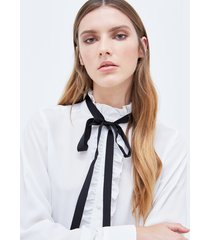 motivi camicia con rouches donna bianco