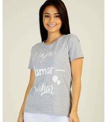 camiseta estampa frontal marisa manga curta feminina - feminino