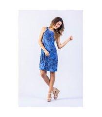 vestido luz e sombra curto estampado azul patrícia