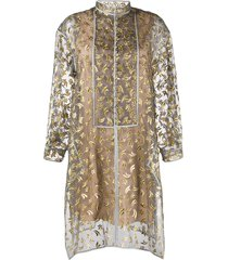 maison rabih kayrouz embroidered shirt dress - neutrals