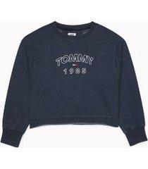 tommy hilfiger women's 1985 logo sweatshirt sky captain - xs