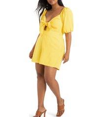 plus size women's eloquii tie bodice elbow-sleeve stretch twill romper, size 28w - yellow