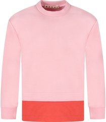 marni pink and red sweatshirt for girl with logo
