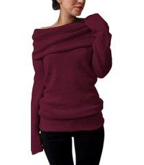 estilo dome one suéter de manga larga con superposición de hombro