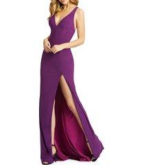 mac duggal women's high-slit cascading column gown - aubergine - size 10