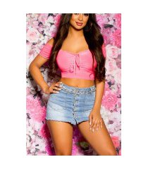 sexy off shoulder crop top fuchsia-kleurig