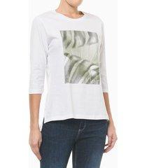camiseta com estampa localizada e fenda - branco - p