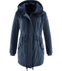 giacca invernale lunga con collo effetto peluche (blu) - bpc bonprix collection