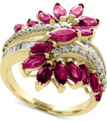 effy certified ruby (2 ct. t.w.) & diamond (3/8 ct. t.w.) ring in 14k yellow gold