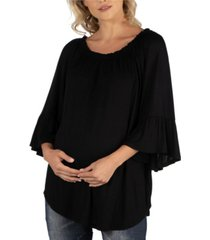 24seven comfort apparel maternity peasant top round neck and bell sleeves