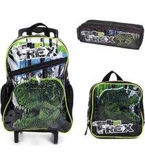 kit mochila com rodinhas dinossauro com lancheira e estojo masculina