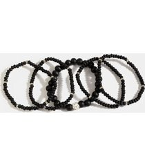 hannah wood beaded bracelet set - black