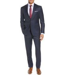 ted baker london jones trim fit solid wool suit, size 34 short in blue at nordstrom