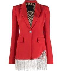 philipp plein embellished tassel blazer - red