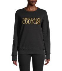 versace jeans couture women's embroidered logo sweatshirt - black - size xs
