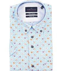 overhemd portofino korte mouw regular fit blauw