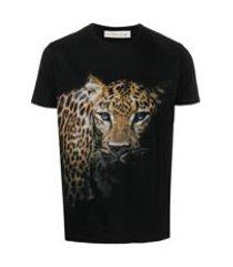etro camiseta de algodão com estampa de leopardo - preto