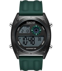 kenneth cole reaction men's dress sport round green silicon strap watch 44mm