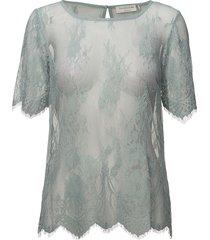 blouse ss blouses short-sleeved blå rosemunde