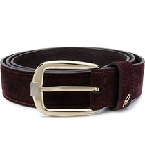brioni stitched buckled belt - red