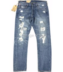 denim supply ralph lauren lightweight prospect blue hand distressed slim jeans
