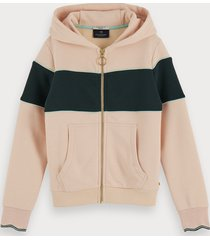 scotch & soda recycled cotton-blend zip up hoodie