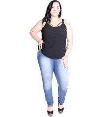 calça de jeans cigarrete feminina plus size da mix jeans