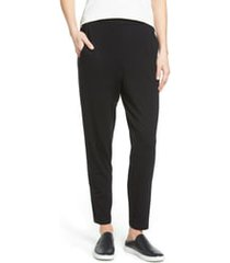 women's eileen fisher crop stretch knit pants, size xx-small - black
