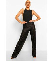 geplooide plisse broek met hoge taille, black