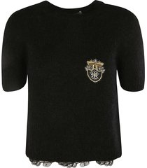 ermanno scervino patched crystal knit sweater