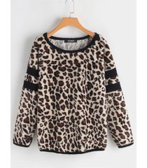 leopard pattern round neck long sleeves t-shirt