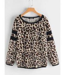 leopardo patrón round cuello camiseta de manga larga