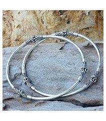 sterling silver bangle bracelets, 'balinese hoop' (pair) (indonesia)