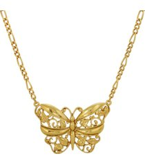 2028 women's 14k gold dipped butterfly pendant necklace