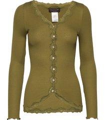 silk cardigan regular ls w/rev vint gebreide trui cardigan groen rosemunde