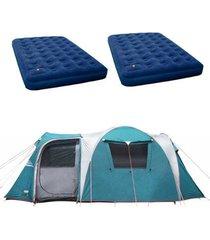 barraca camping nautika arizona gt 9/10 pessoas + 2 colchões casal inflável zenite