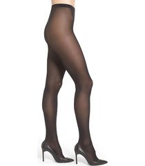 women's wolford velvet de luxe semi-opaque tights, size large - black