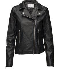 vicara coated jacket/su - noos läderjacka skinnjacka svart vila