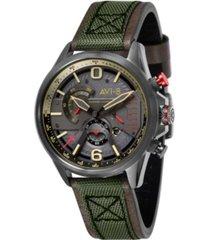 avi-8 men's hawker harrier ii chronograph retrograde edition army green genuine leather and nylon strap watch 45mm