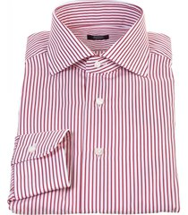 barba red and white vertical striped cotton shirt