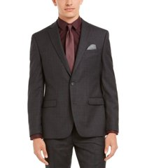 bar iii men's slim-fit gray plaid suit separate jacket, created for macy's