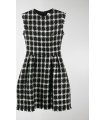 valentino tweed checkered sleeveless dress