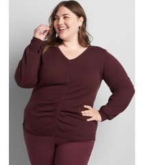 lane bryant women's v-neck ruched sweater 10/12 winetasting