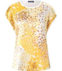 trui met ronde hals en abstracte luipaardprint van basler geel